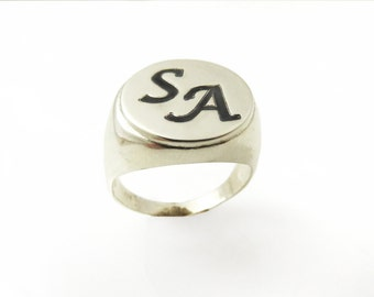 Men monogram ring.college ring.initial ring.silver monogram ring.men initial band.mens initial ring.silver ring