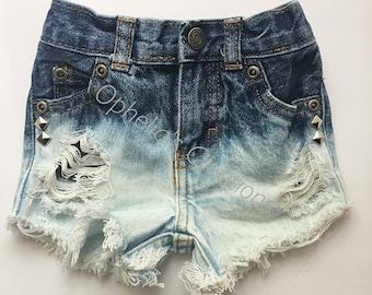 Diamond Stud denim shorts, Toddler, Baby, Girl Distressed Denim shorts, Shorties, Girl distressed denim shorts, Jean Shorts, Ripped Shorts