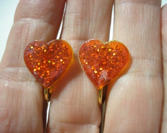 Play Earring - Clip - Glitter Heart - Orange - 1/2""