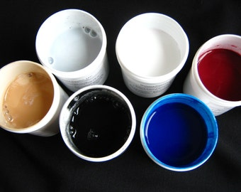Marbling Paint - Hand-mixed Acrylic Paint Set of 6 Neutrals and Darks Floating Paint Marbleizing