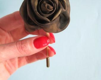 Lapel pin brown - Silk rosebud pin - Rose lapel brooch - Silk flower lapel stick Handmade lapel pin Groom Men's lapel pin Rose boutonniere