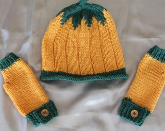 Hat and mittens hand knitted kids halloween