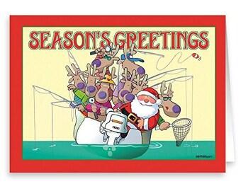 Santa Fishing in Boat Christmas Card- 18 Cards & Envelopes - 60007