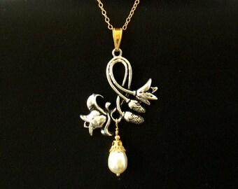 Art Nouveau Jewelry, Pearl Flower Necklace, Silver Gold Fill Art Nouveau Necklace, Romantic Bridesmaids Gift - Bridal Wedding Jewelry