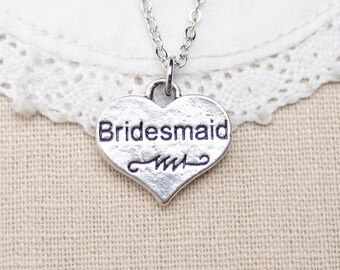 bridesmaid necklace, sterling silver filled, silver bridesmaid, heart necklace, heart charm necklace, gift for bridesmaids, wedding jewelry