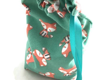 Drawstring sack for jewelry storage or gift bag fox print flannel