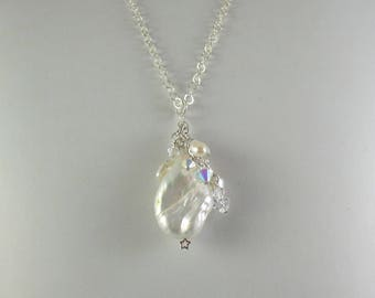 Keshi Pearl on Sterling Silver Chain Necklace