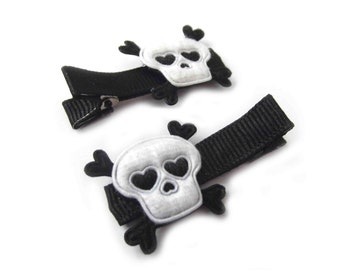 Black and White Skull Hair Clips Skull and Crossbones Halloween Hair Clips Rock N Roll Punk Hair Clips White Hair Clips Black Hair Clips