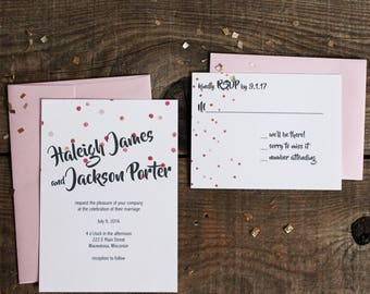 pink polka dot wedding invitation set - 50 invitations and response cards wedding stationery