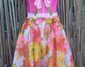 Corset Dress, Floral, Strapless, Party, Dress, Pink, size S / M