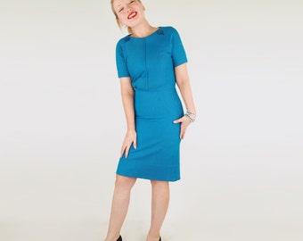 60s Blue Cotton Blend Knit Sheath Dress with Big Shoulder Buttons M