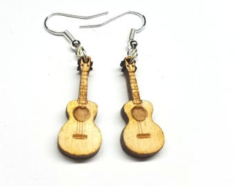 Ukelele Dangle Earrings | Laser Cut Jewelry | Hypoallergenic Hook Dangle Earrings | Wood Earrings