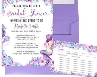 Mermaid Bridal Shower Invitation and Recipe Card - Under the Sea Bridal Shower - Beach Bridal Shower Invitation -  Bridal-102