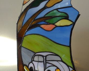 Car Stained Glass Lamp, Tiffany Style Lamp, Tree, Car, Leaves