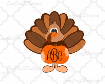 Fall Turkey SVG, EPS, Png, DXF, Autumn Fall Pumpkin Monogram Frame Cut files for Cricut, Silhouette, Vinyl Cutters Screen Printing Cut Files