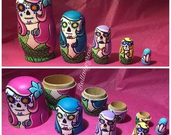 Sugar Skull Mermaid Nesting Dolls