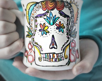 Sugar Skull mug, coffee cup, tea cup, diner mug, Dia de Muertos, sun moon, roses, rainbow, day of the dead, hand painted, holiday, calavera