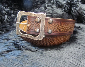 Customizable 2.25 inch, Large Celtic Square Knot Design Pirate, or Kilt Belt