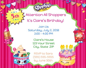 20 Personalized Shopkins Birthday Party Invitations & 20 Goodie Bag Tags