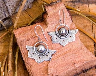 Sterling lotus dangle earrings, Silver lotus jewelry, Large fllower earrings, Statement jewelry, Oxidized silver texture earrings