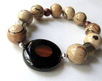 Jasper Beaded Bracelet, Unisex Stretch Bracelet, Chunky Brown Bracelet, Carnelian and Onyx, Large Beaded Bracelet, Earthtones Jewelry