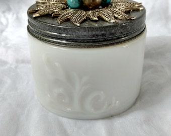 Pewter Sun & Turquoise Trinket Storage Jar