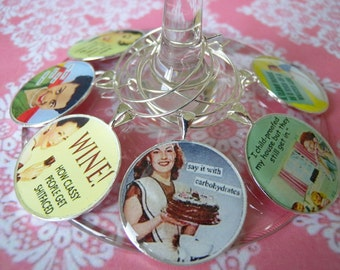 retro funny women, wine charms, party favors, hostess gifts, fun  wine charms, personalize,  fun for women, girls night out
