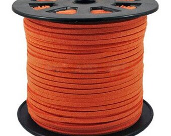 Orange Suede, faux suede, 3mm sold per 1 M cord