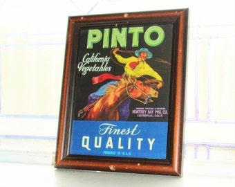 Framed Vegetable Crate Label Pinto California Vegetables Vintage 1940s Cowboy