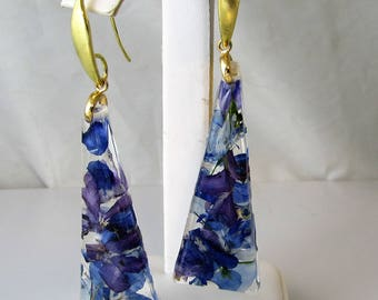 Glorious Purples,  Real Flower Earrings, Pressed Flower Jewelry,  Resin (3016)