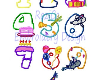 Happy Numbers Applique Design Machine Embroidery Font Birthday 1 2 3 4 5 6 7 8 9 0 - INSTANT DOWNLOAD