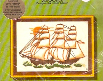 Schooner Mariner Embroidery Nautical style 70s Jiffy Stitchery Kit No 827 DIY Needlepoint Vintage Unopened Sunset designs 1977