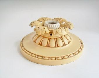 Vintage Ceiling Light  Art Nouveau Art Deco Pressed Brass Cast Iron Candle Holder