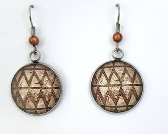 Christmas gift idea - Aztec earrings shaped geometric vintage retro