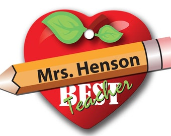 Best Teacher Personalized Christmas Holiday Heart Ornament Double Sided