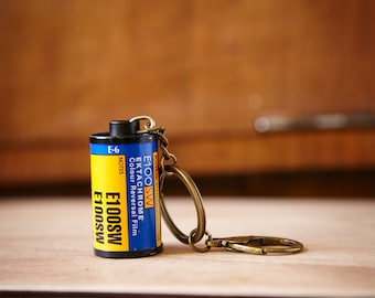 Film Canister Key Chain. Kodak Professional E100SW Ektachrome. Photographer gift.