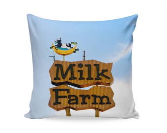 Milk Farm Neon Sign Pillow Cover | Mid Century Modern Home Decor |Travel Trailer Decor | Nursery Decor | Dixon California | 50s Decor