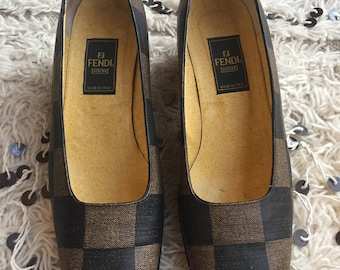 Vintage FENDI ZUCCA FF Monogram Loafers Flats Driving Shoes Smoking Slippers Ballet Flats 38 us 7.5 - 8