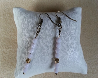 bronze earrings and seed beads