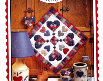 """Country at Heart Wall Hanging Quilt Pattern / Four Corners Patterns / 9 Patch Design / 20"""" x 20"""""""