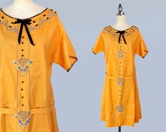 1920s Dress /  20s Orange Embroidered Cotton Day Dress / L