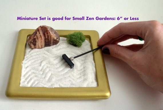 Zen Garden Rake Set // Mini Zen Garden // Miniature Garden Tools // Fairy  Garden // Zen Rake // Bamboo Stylus // 4 Tine // 3D Printed