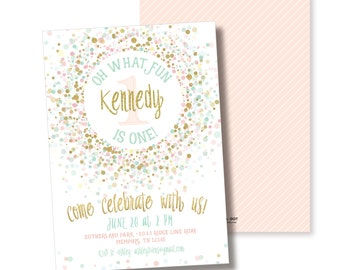 Pink Gold and Mint 1ist Birthday Party Invitation, Printable, Pink Gold Confetti Invite, First, Girl Birthday, Sprinkles, Ice Cream, Glitter