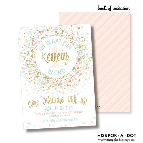 First Birthday Party In A Box In Gold Mint And Pink: Pink Gold And Mint 1ist Birthday Party Invitation Printable