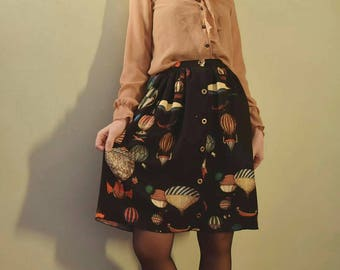 Master Skirt-air balloon pattern-buttons skirt-vintage style skirt