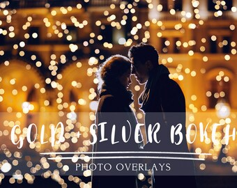 60 Gold and Silver Bokeh Photoshop Overlays, gold bokeh overlays, christmas bokeh, photoshop overlays