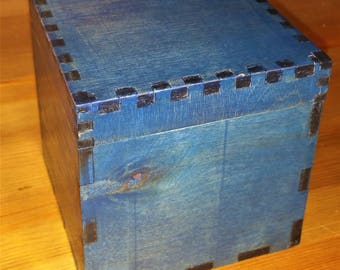 4x4 inch blue stained wood box / trinket box / jewelry box / handmade wood box / hand painted / cigar box / wooden box / blue box / rustic