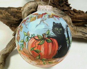 Cat and Pumpkin Ornament, Halloween Ornament, Black Cat with Spider, Fall Leaves, Cat in Fall, Free Inscription, Halloween Keepsake