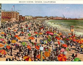 Venice Beach Vintage California Postcard 1929