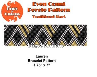Peyote Stitch, Lauren, Geometric, Even Count,  Peyote Stitch  Pattern, Instant Download PDF